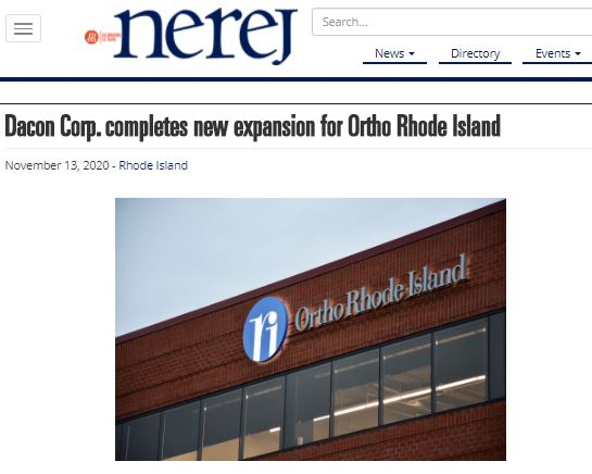 Dacon Corp Completes New Expansion For Ortho Rhode Island