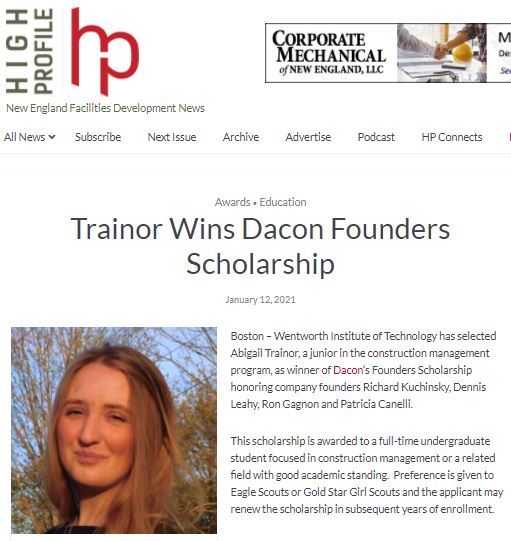 Trainor Wins Dacon Founders Scholarship