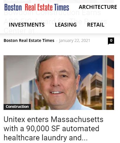 Unitex Enters Massachusetts with a 90,000 SF Automated Healthcare Laundry and Uniform Service Facility