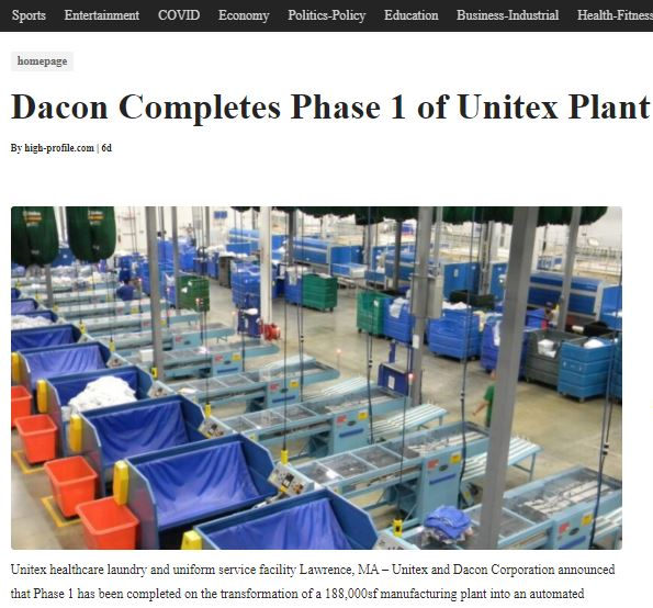 Dacon Completes Phase 1 of Unitex Plant
