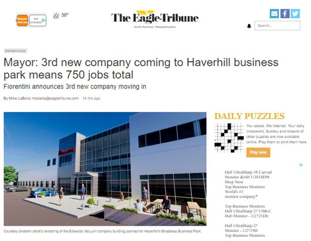 Mayor: 3rd New Company Coming to Haverhill Business Park Means 750 Jobs Total