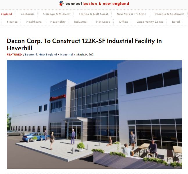 Dacon Corp to Construct 122K-SF Industrial Facility in Haverhill