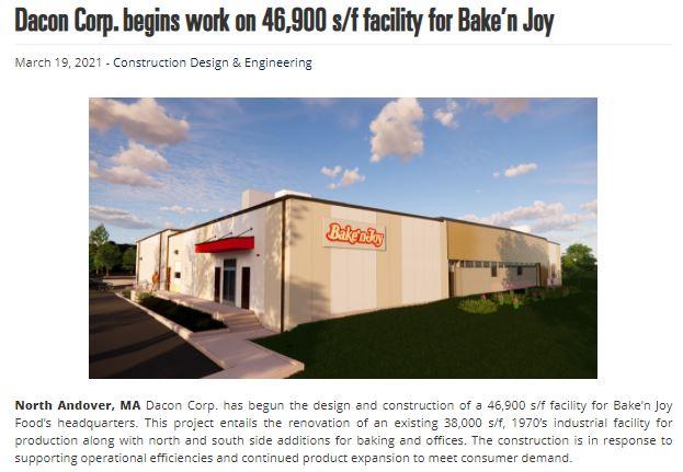 Dacon Corp Begins Work on 46,900 SF Facility for Bake'n Joy