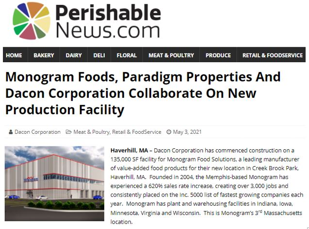 Monogram Foods, Paradigm Properties And Dacon Corporation Collaborate On New Production Facility