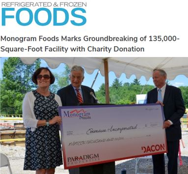 Monogram Foods Marks Groundbreaking of 135,000-Square-Foot Facility with Charity Donation