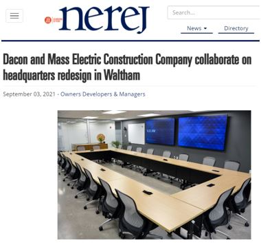 Dacon and Mass Electric Construction Company Collaborate on Headquarters Redesign in Waltham