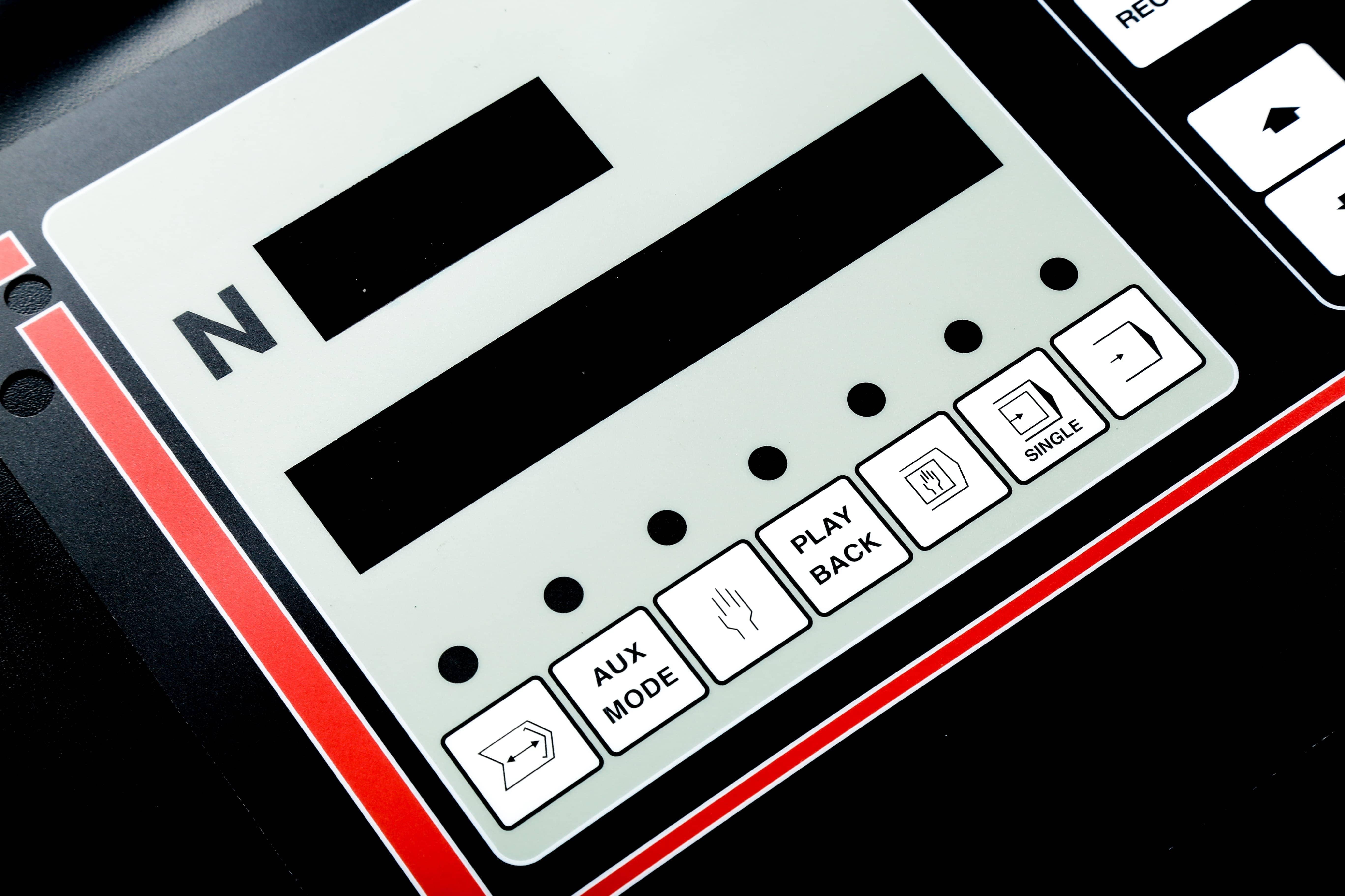Folientastatur mit Buttons Nahaufnahme