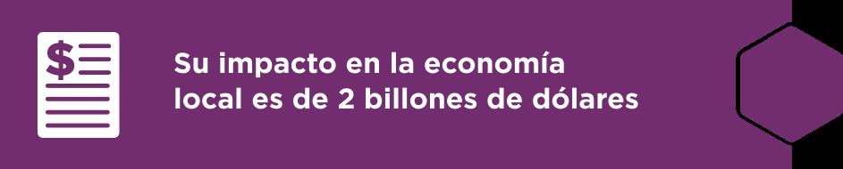Su impacto en la economía local es de 2 billones de dólares.