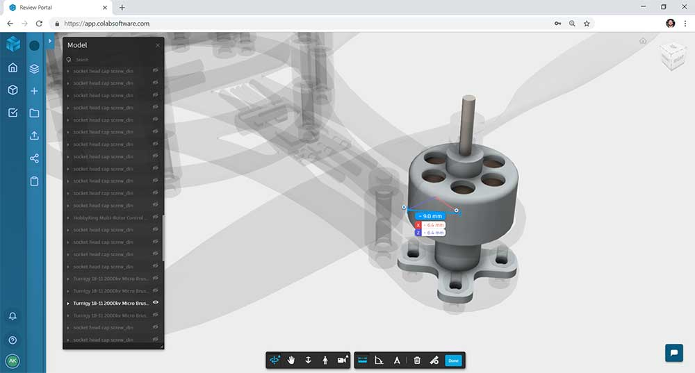 Screenshot of a measuring tool being used on a component of a quadcopter 3D CAD model in the Gradient web design review software