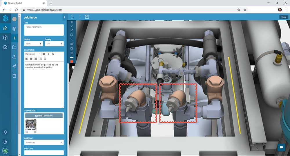 Screenshot of a car engine CAD design being shared in the 3D viewer of the Gradient design review software
