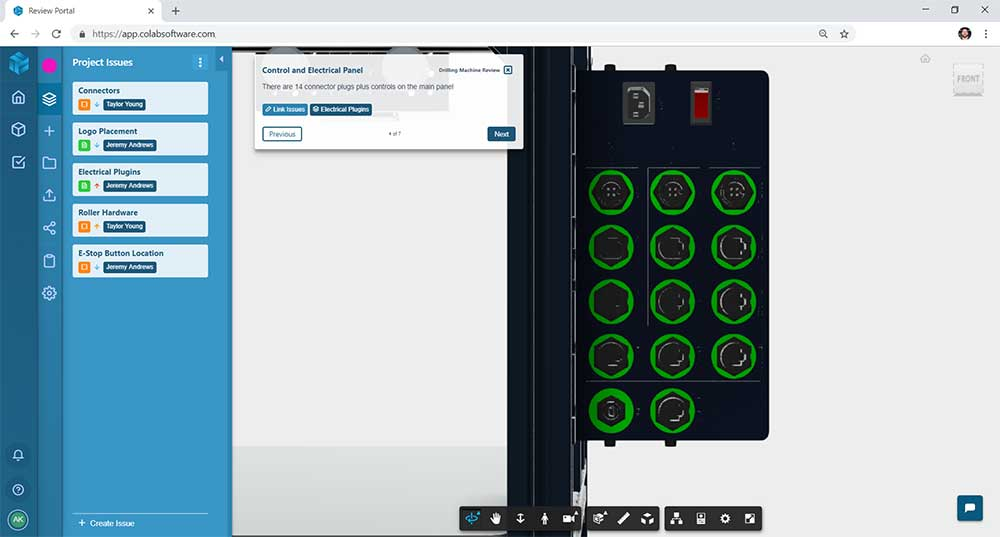 Screenshot of a web-based design review of a medical equipment CAD design in the Gradient design review software