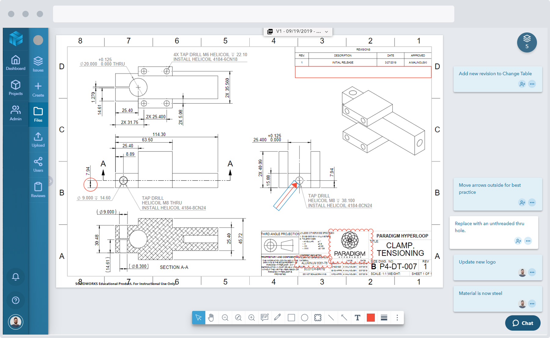 Screenshot of a web based design review of a quadcopter 3D model design in Gradient