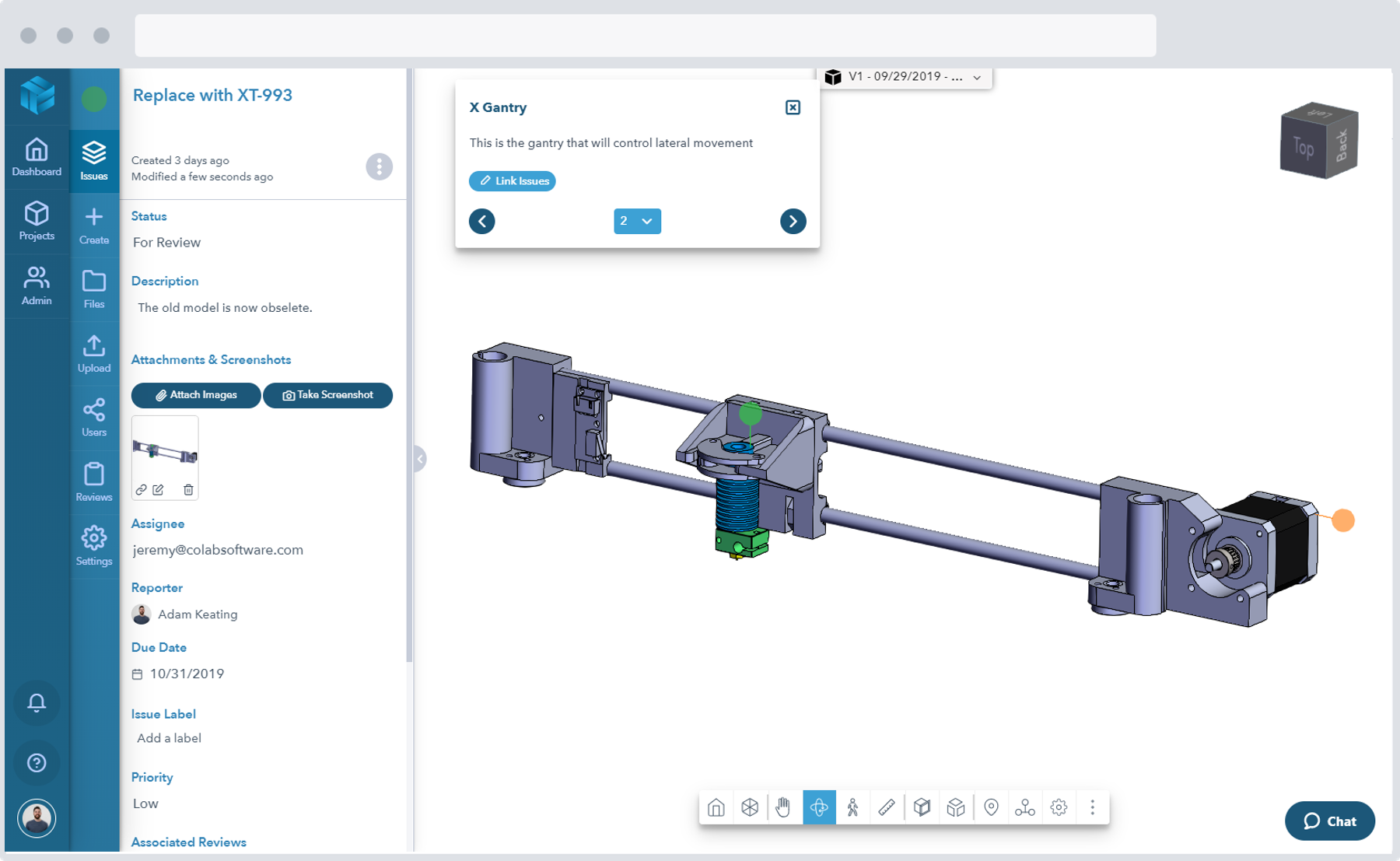 Screenshot of a medical equipment CAD design shared in the 3D viewer of the Gradient design review software
