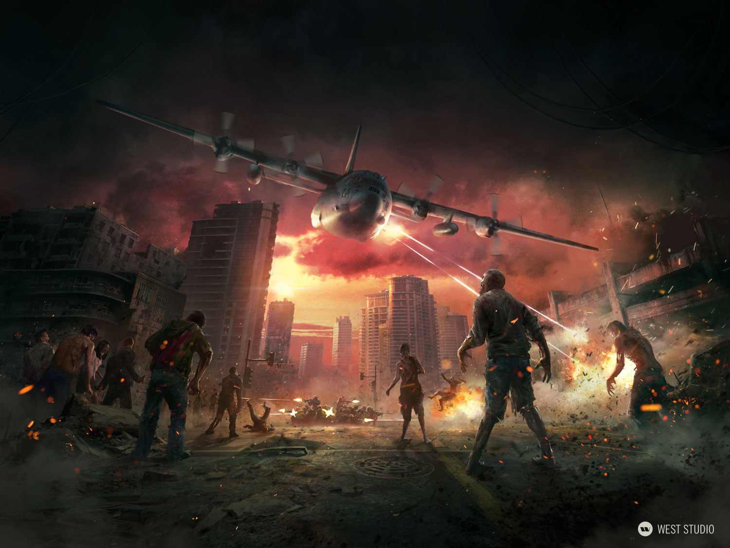 zombies, gunship, marketing illustration, C-130, poster design