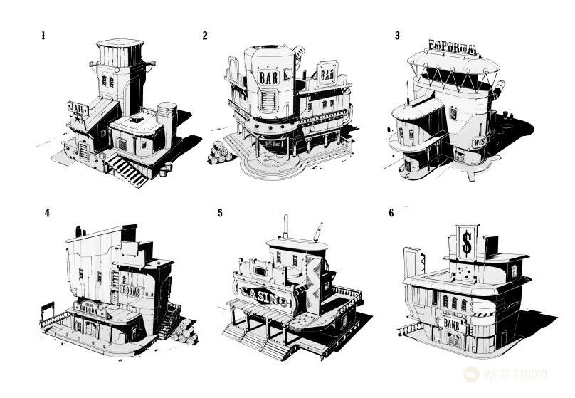 western, sci-fi, world building, props, VR, concept art, architecture, game development