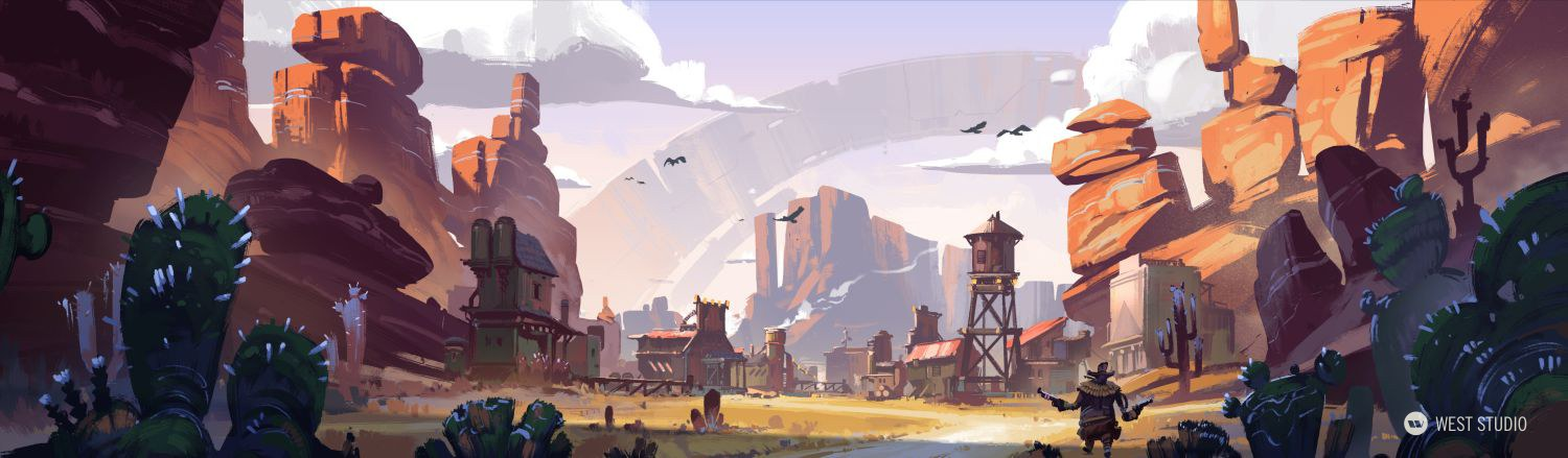 western, sci-fi, world building, props, VR, concept art, architecture, game development