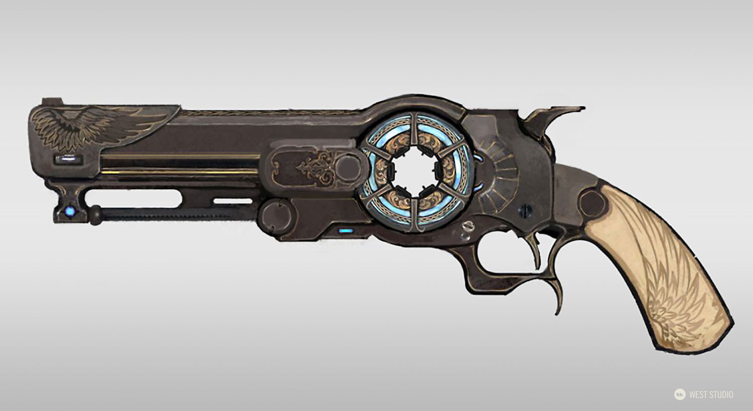 western, sci-fi, world building, props, VR, concept art, game development, weapon