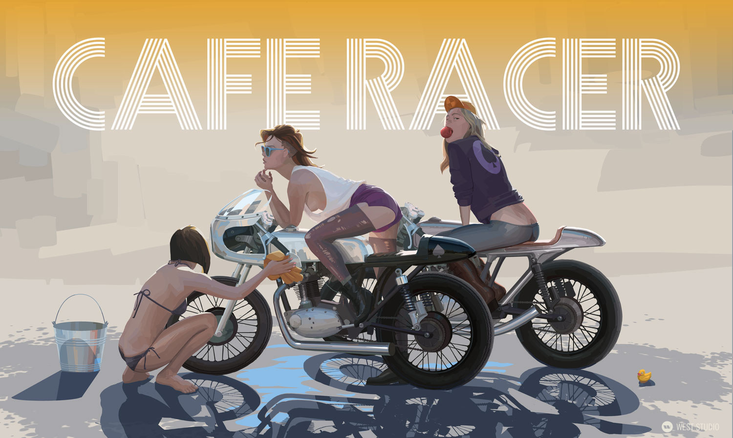 girls, cafe racer, poster, illustration
