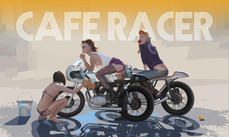girls, cafe racer, poster, illustration
