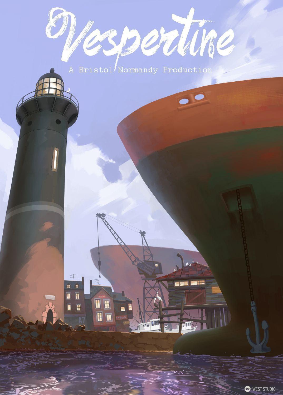 ships, lighthouse, harbor, poster