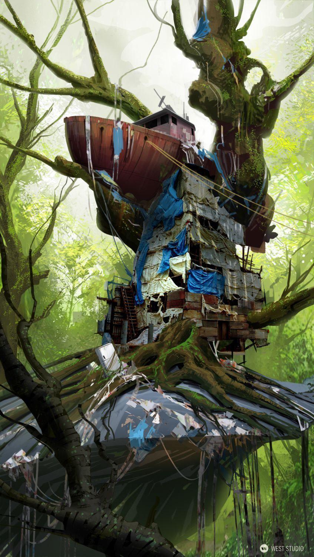 tree house, concept art, ramshackle, ship