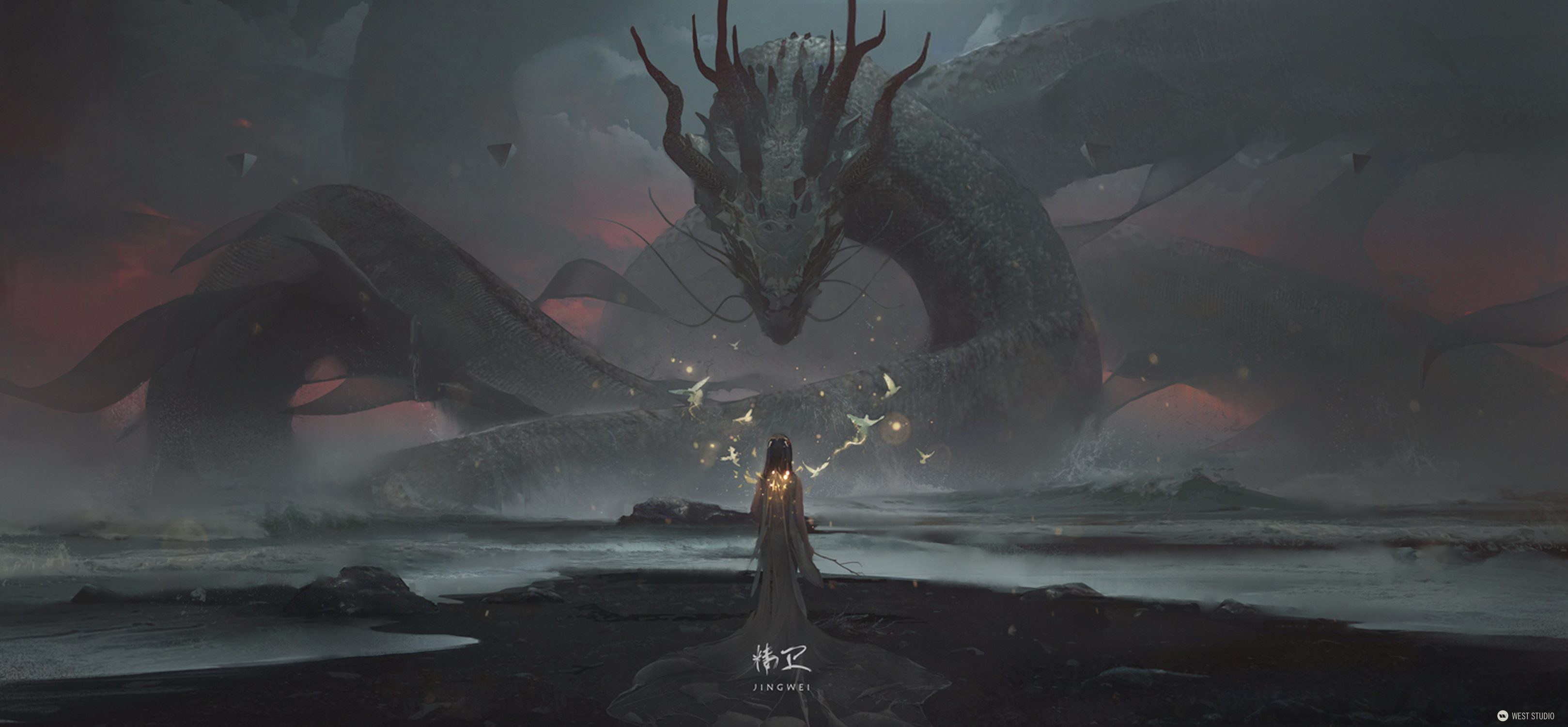 dragon, illustration. Jing Wei, concept art, Wiliam Wu