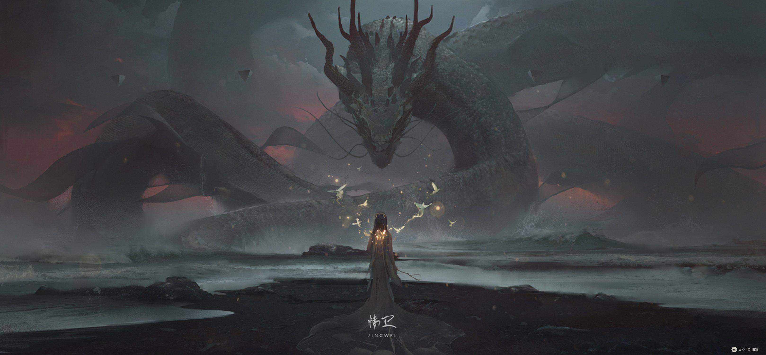 dragon, illustration. Jing Wei, concept art, Wiliam Wu