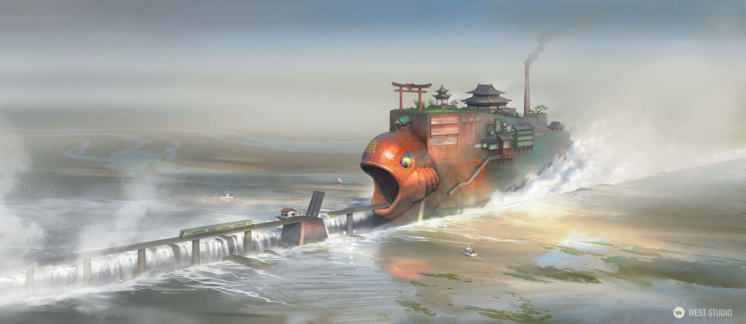hotel, fish, ocean, steam, train, drawbridge, fantasy