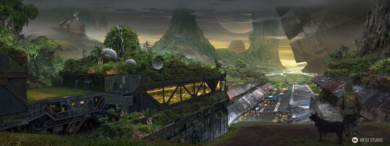 sci-fi, jungle, futuristic, overgrown