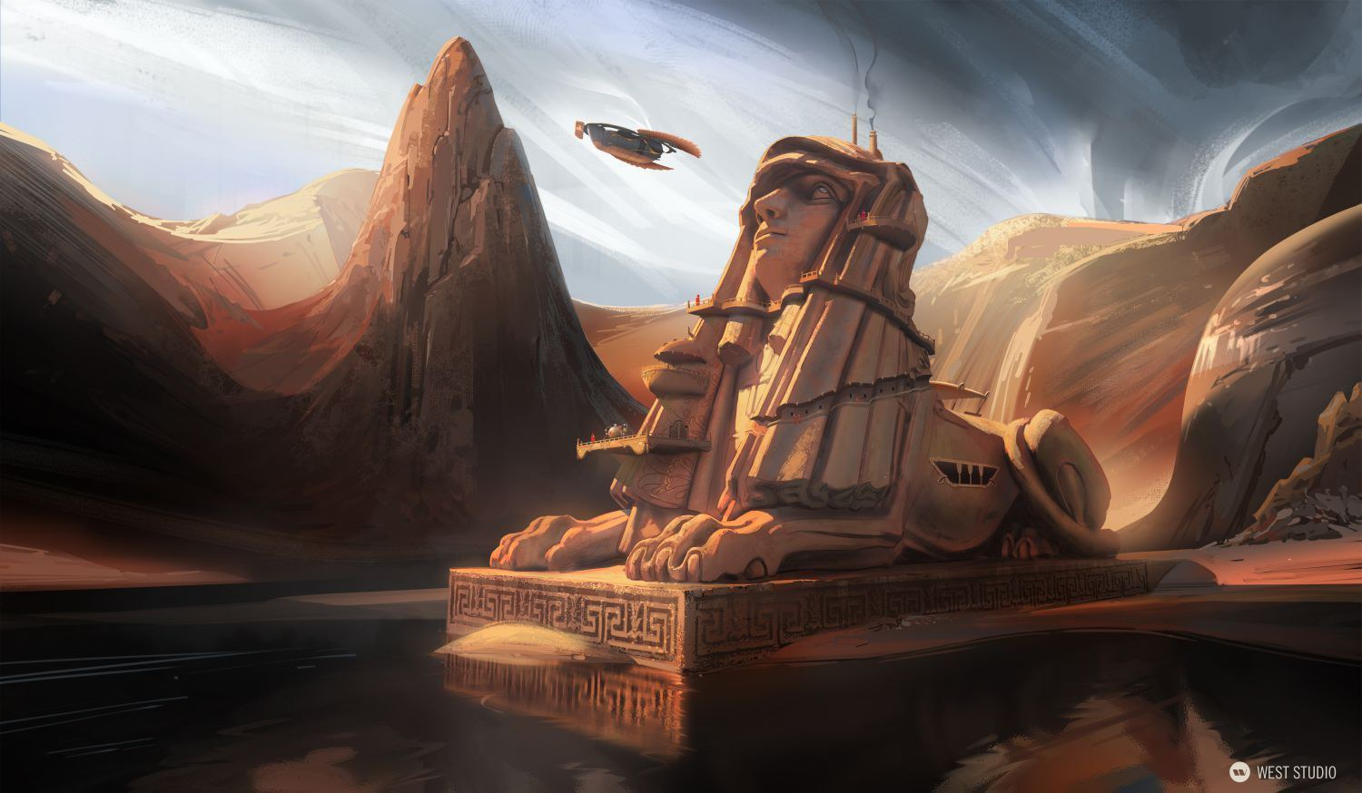 sphinx, mysterious, temple, desert