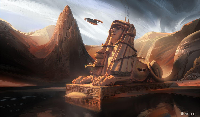sphinx, mysterious, temple, desert