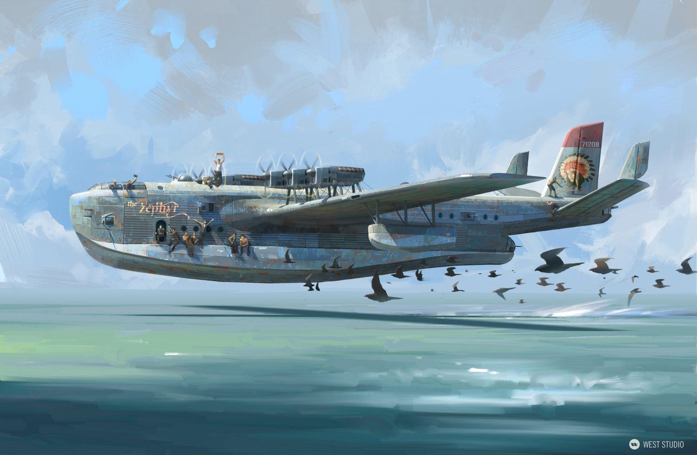 boat plane, seaplane, aiship, takeoff, vehicle concept, vintage, WWII, flight