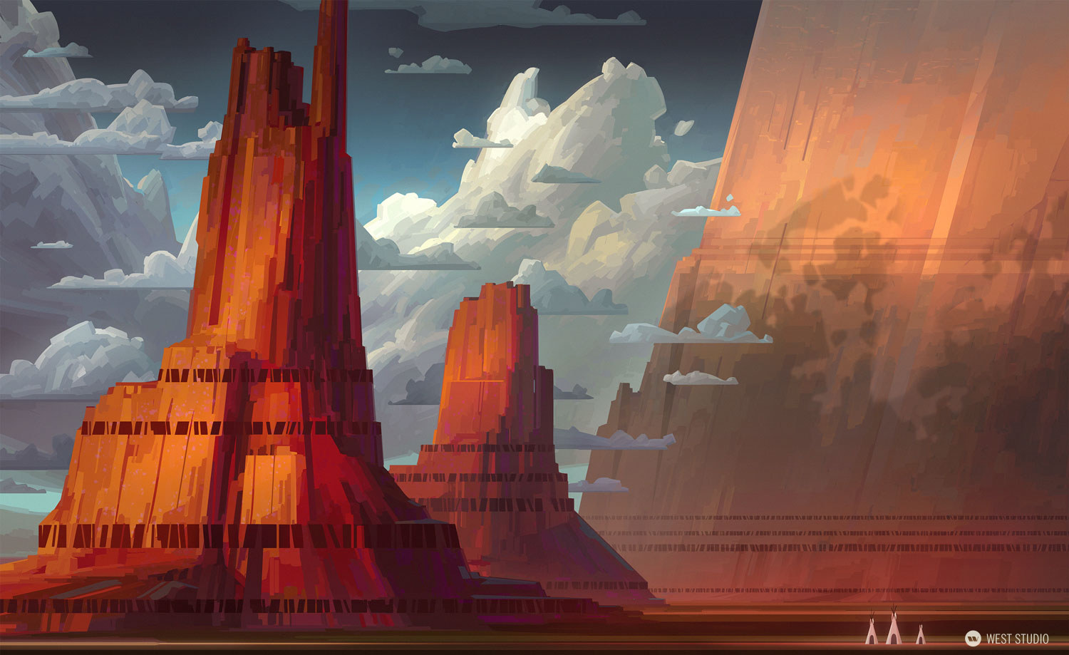Animation, scale, stylized, epic, monument valley, rock, cliffs
