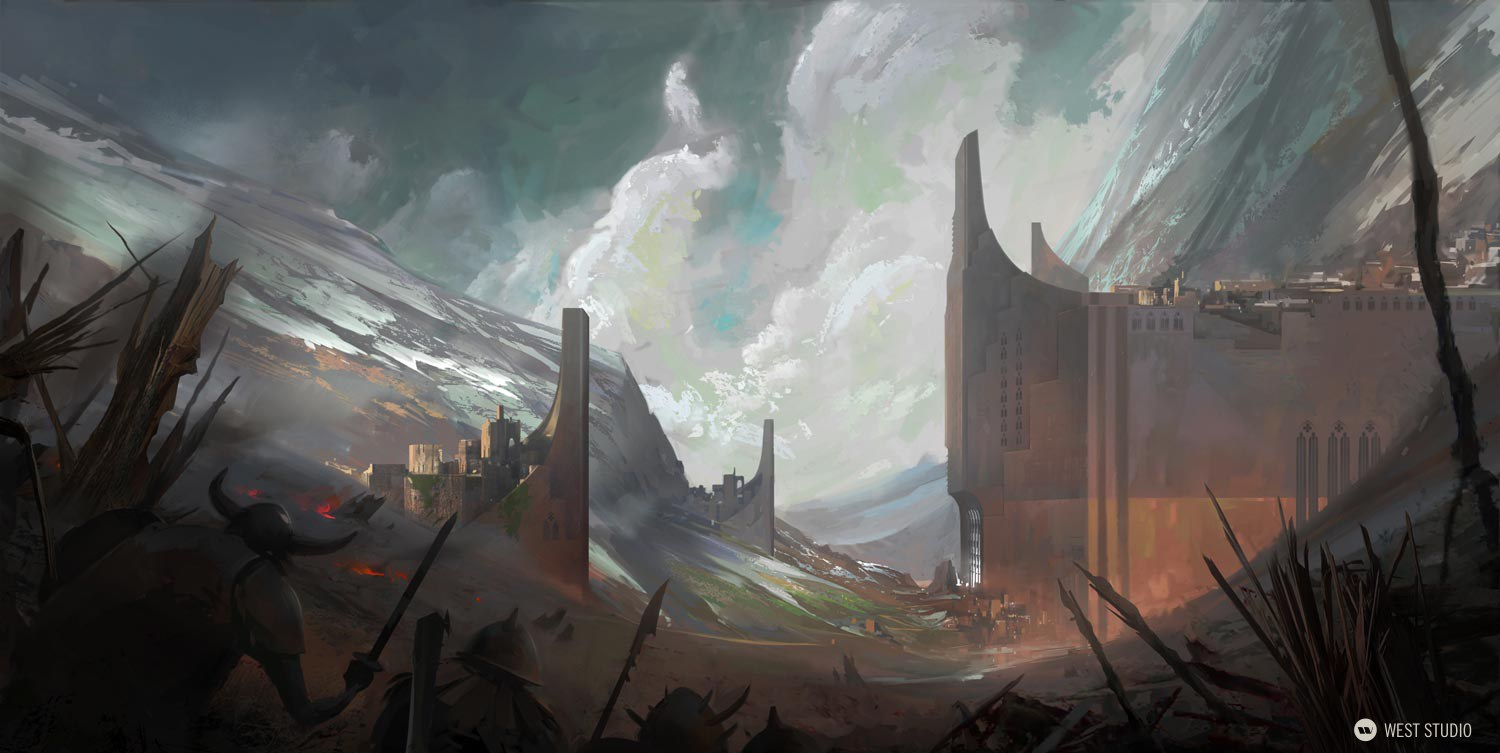 castle, ambush, attack, painterly