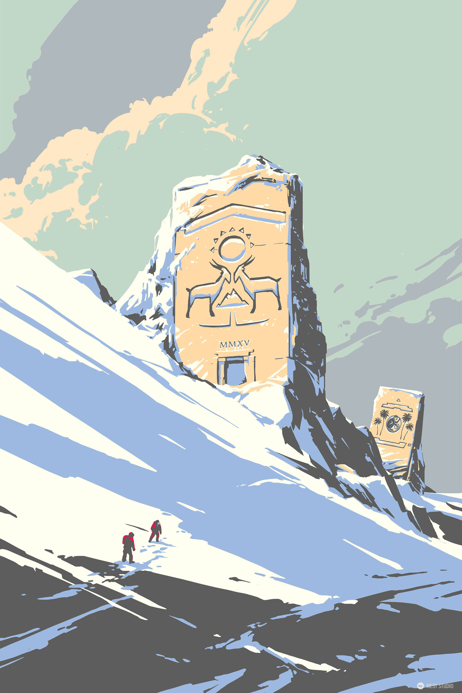 stylized, silk screen, print, temple, snow, goat,