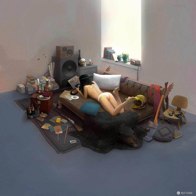 illustration, artwork, girl, bedroom, props