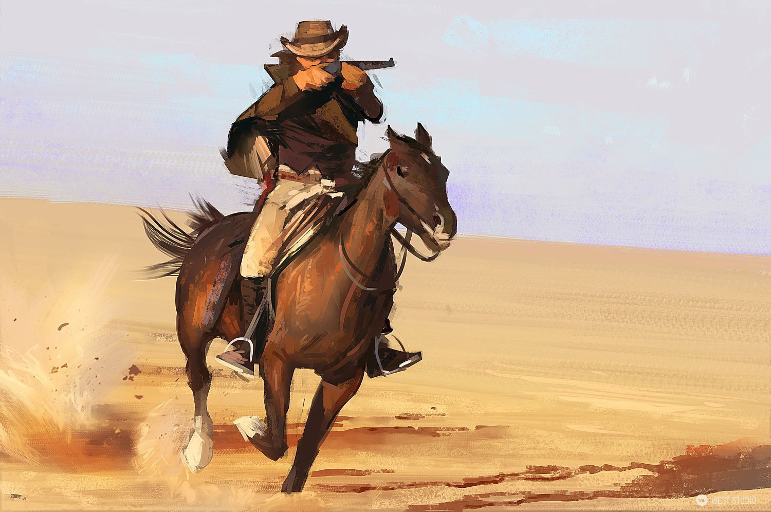 illustration, cowboy, western, painterly