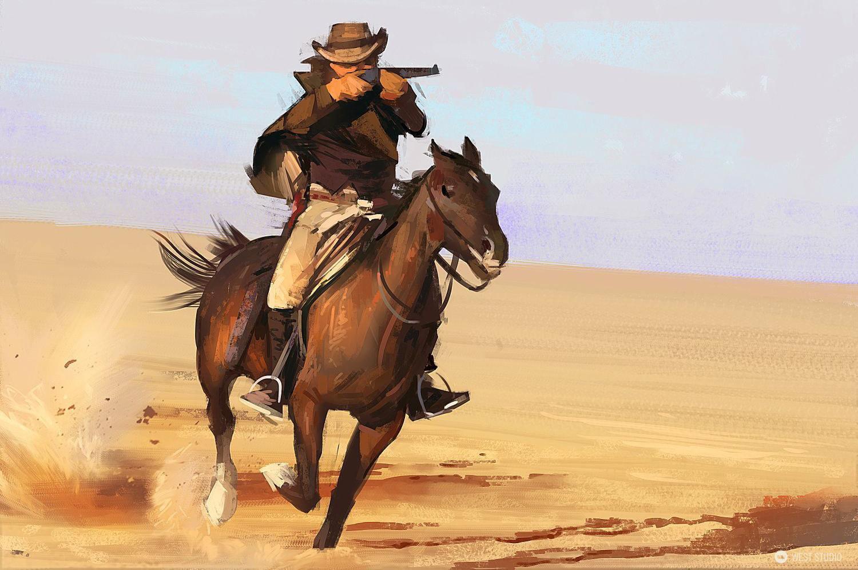 illustration, cowboy, western, painterly