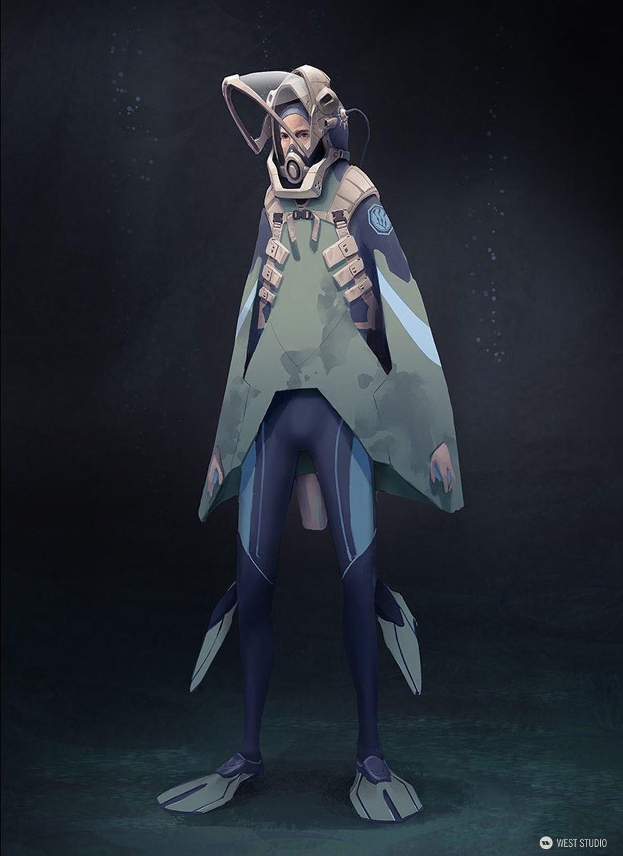diver, explorer, space suit, underwater, costume design, character design