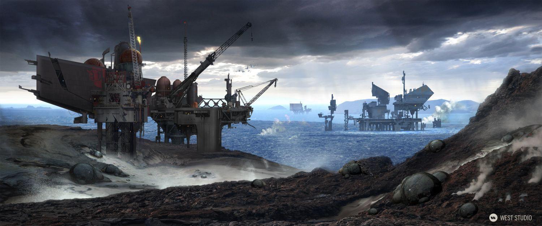 oil rig, landscape, alien, platforms