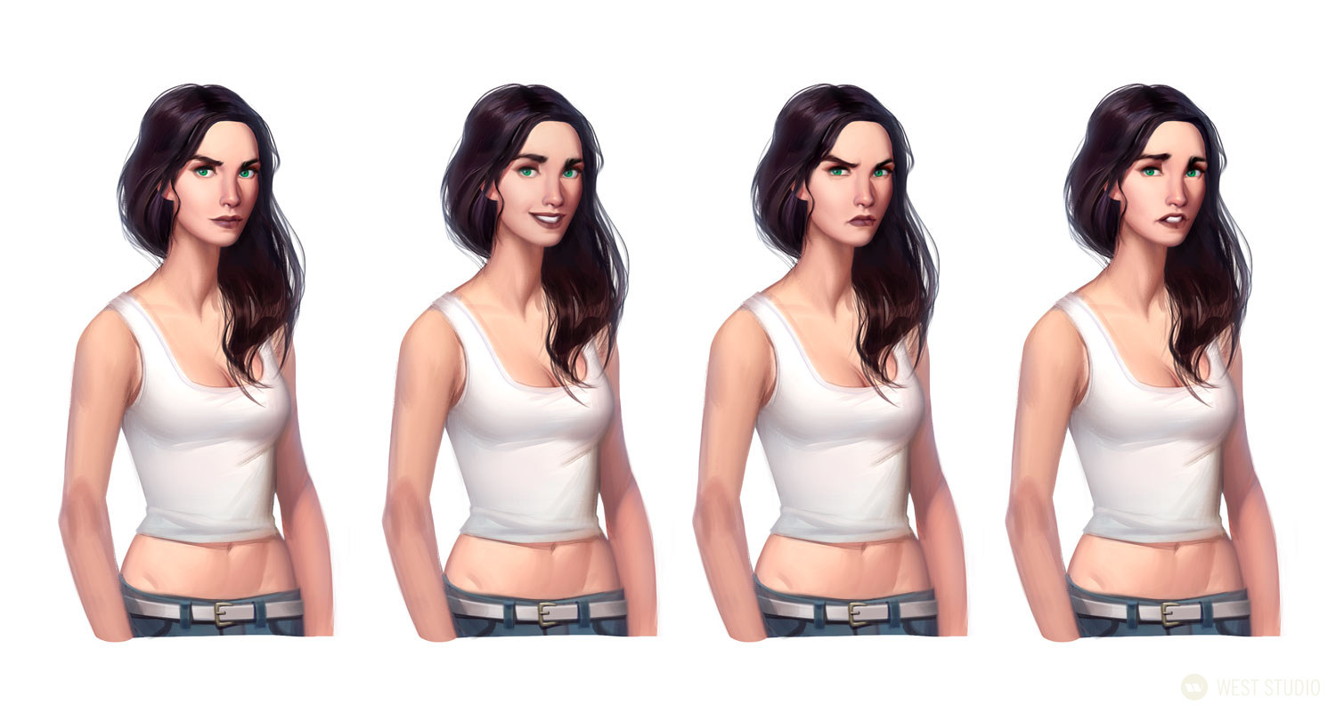 Mobile Game, Background Paintings, Female Demographic, UI, All Ages, Facial Expressions