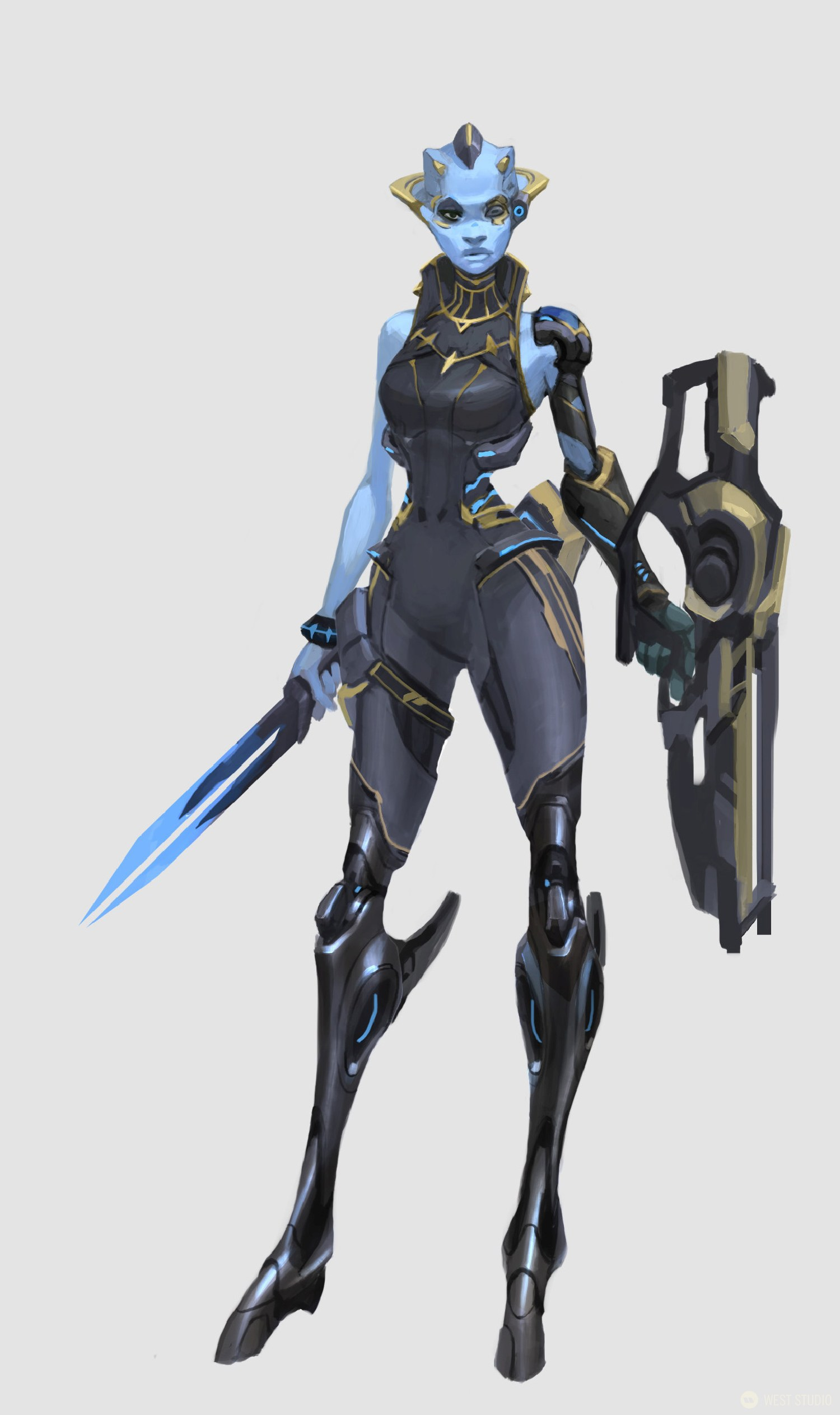 A full-color concept art image featuring a finalized design of a sci-fi alien character with a sword and weapon from the video game, Drifters.
