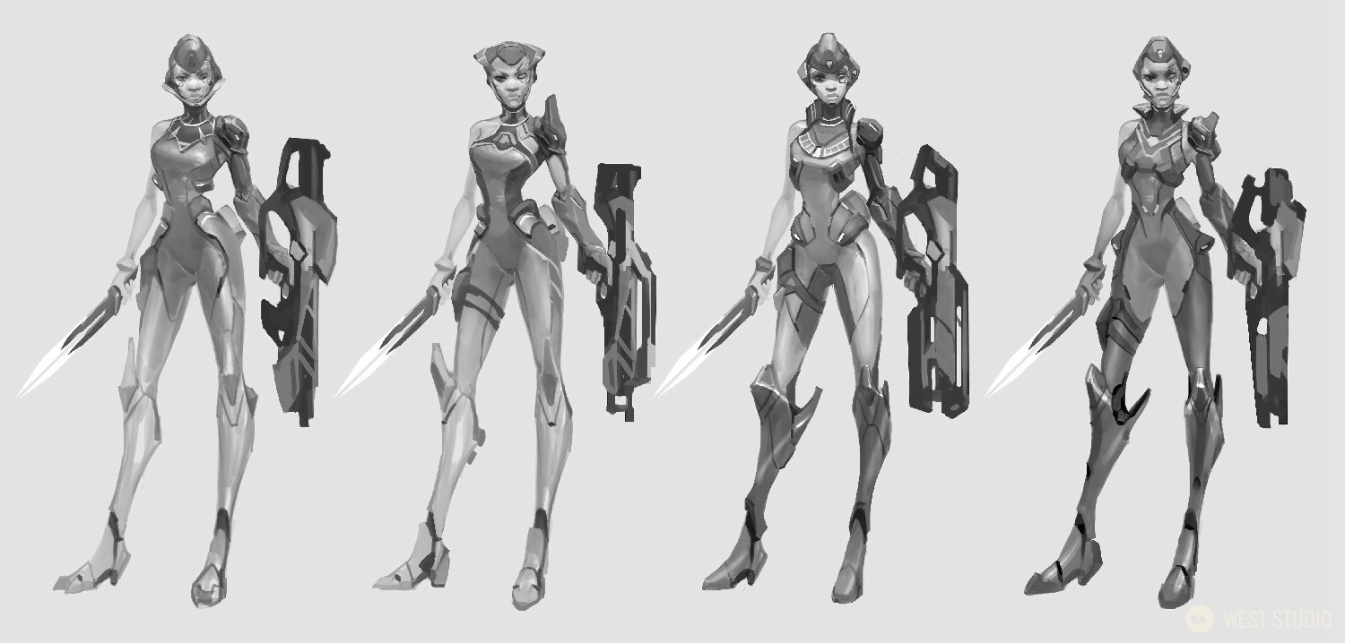 A black and white concept art image featuring 4 unique designs of a sci-fi alien character with armor holding a weapon from the video game, Drifters.