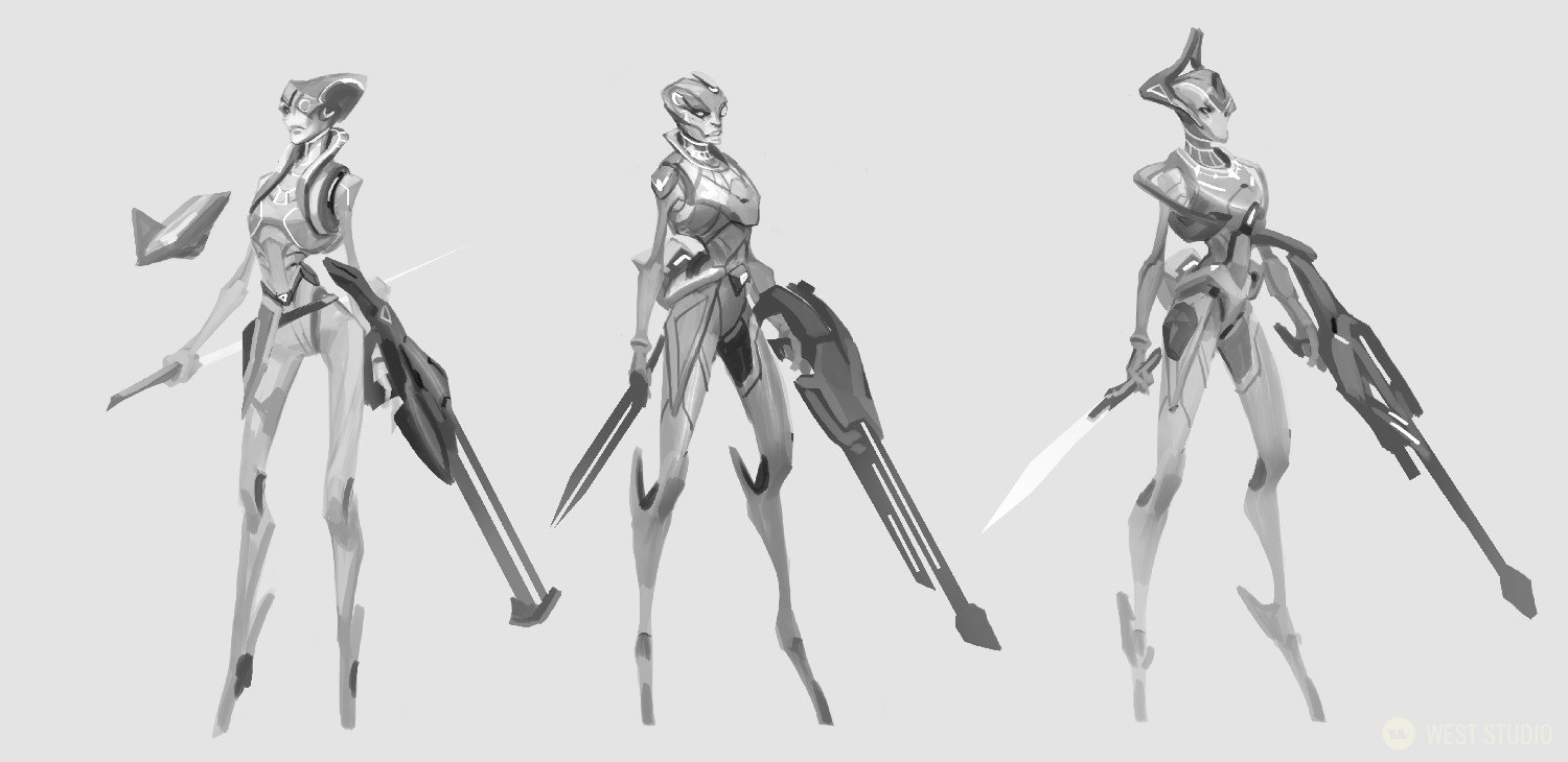 A black and white concept art image featuring 3 unique designs of a sci-fi alien character from the video game, Drifters.