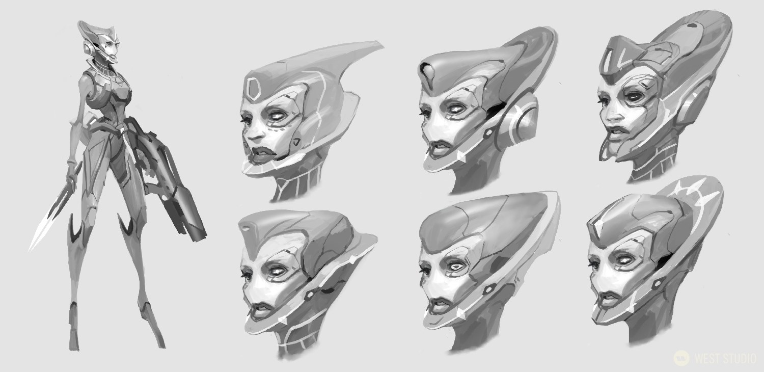 A black and white concept art image featuring 6 unique head designs of a sci-fi alien character from the video game, Drifters.
