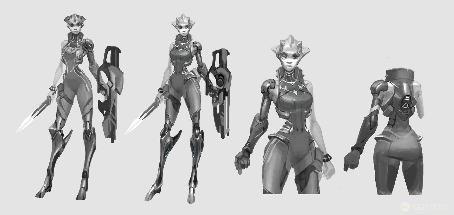 A black and white concept art image featuring 2 unique designs of a sci-fi alien character from the video game, Drifters, plus a closer front and back view of her armor.
