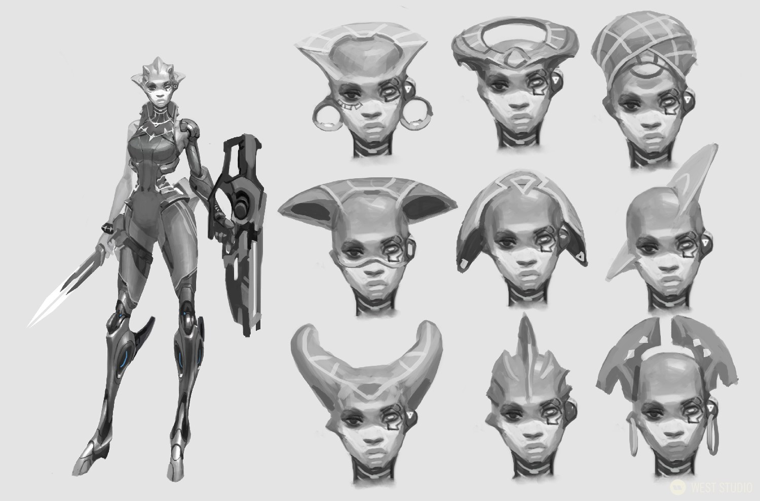 A black and white concept art image featuring a design of a sci-fi alien character from the video game, Drifters, plus 6 different options for her head design.