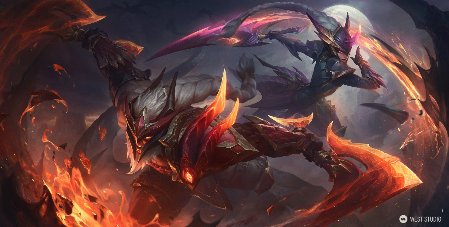 A color key art splash illustration featuring League of Legends champions Diana and Olaf in their Dragon Slayer skin variations, in action poses.