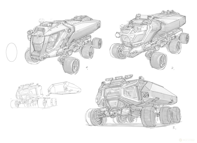 concept art, visual development, vehicles, industrial design, game design, game development, vehicle design, science fiction, sci-fi