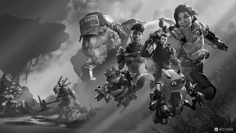 concept art, visual development, character design, game development, science fiction, sci-fi, key art, stylized, marketing art